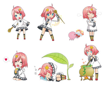 anime young: White Witch Collection set 1. Series of cute little witch with her activities. Illustration