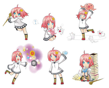 White Witch Collection set 2. Series of cute little witch with her activities. Vector