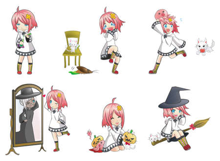reflection in mirror: White Witch Collection set 3  Series of cute little witch with her activities  Illustration