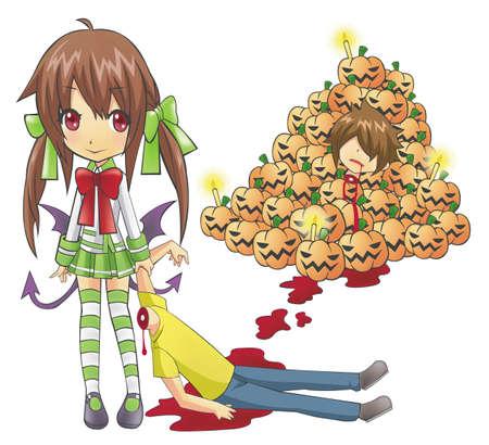 evil girl: Sanguinante di Halloween Un male Sindy il nome della ragazza � un uomo senza testa trascinando a unirsi a lei festa di Halloween