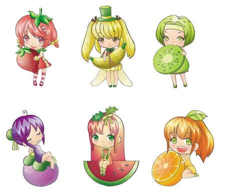 Fruit Girl collection - strawberry, banana, kiwi, mangosteen, melon, orange Illustration