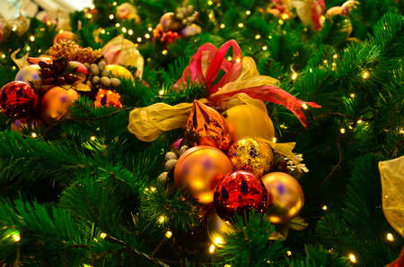 carol: Colorful Christmas tree decoration with ornaments and lights