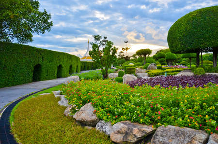 clouds  garden: Dreamy park in Thailand, with beautiful flowers and sunset