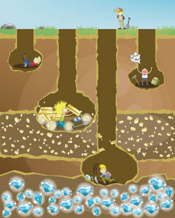 nunca: Mina de Esfuerzo. 4 mineros cavar en busca de tesoros. La que nunca te rindas ganar� una recompensa final.