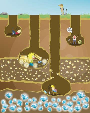 Miniera di sforzo. 4 minatori scavare tesori. Quello che non si arrendono mai vincerà un premio finale.