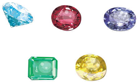 ruby gemstone: Set of 5 gems collection