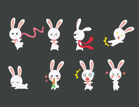 Cute rabbits emotional icons Stock Vector - 15834147