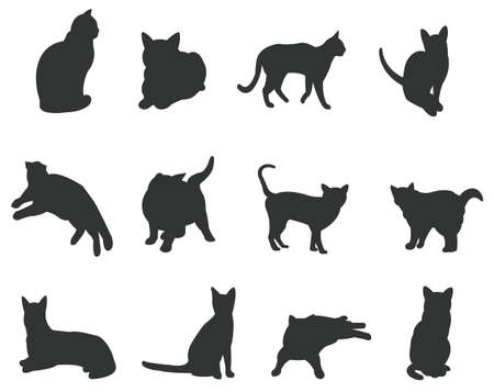 Zestawy kotów sylwetka, w różnych działaniach, tworzyć o wektor Ilustracja