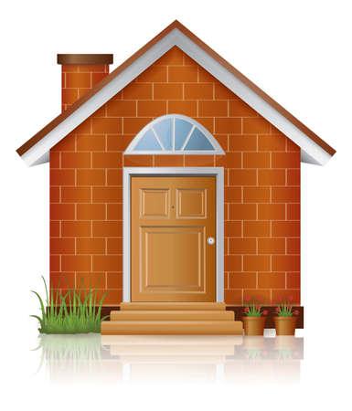 ortseingangsschild: Brick house-Architektur mit Kamin, durch den Vektor erstellen Illustration