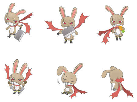 Assassin bunny icon collection Vector