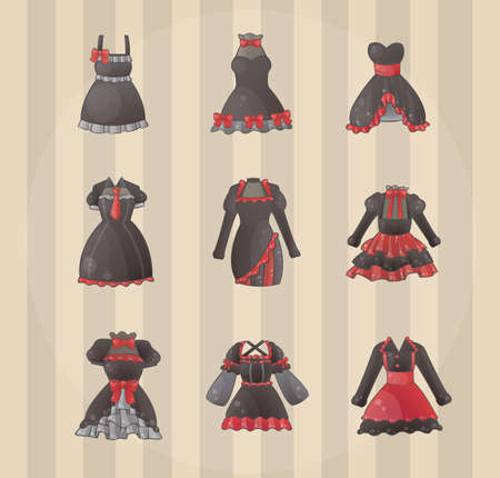 cosplay: Sets of Gothic dresses, create by vector Illustration