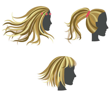 hair style set: Golden woman hair model on dummy, create by vector