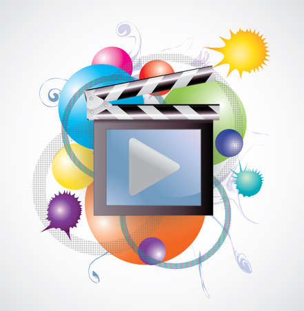 tv network: Movie media in abstract background, create by vector