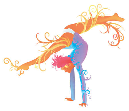 rhythmic gymnastic: Gymnastic performer with abstract and fantasy concept, create by vector