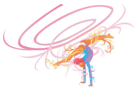 gymnastic girl: Ribbon Gymnastic performer with abstract and fantasy concept, create by vector
