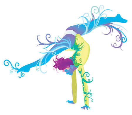 female gymnast: Gymnastic performer with abstract and fantasy concept, create by vector