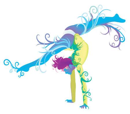 creare: Performer ginnastica con abstract e il concetto di fantasia, creare un vettore