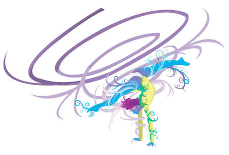 leotard: Ribbon Gymnastic performer with abstract and fantasy concept, create by vector