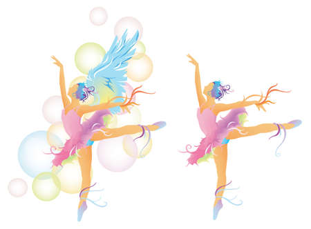 leotard: Ballet dancer with colorful body mix with abstract concept, create by vector