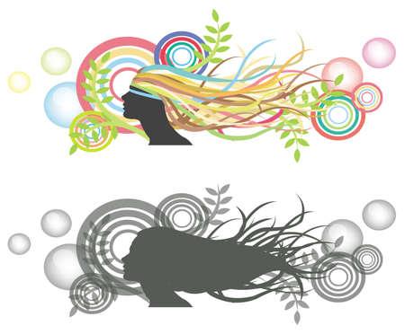long hair woman: Aleteo pelo de tonto mujer con silueta burbuja colorido tel�n de fondo y la versi�n
