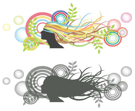 Fluttering hair on woman dummy with bubble backdrop  Silhouette and colorful version  Vector