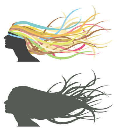 Fluttering hair on woman dummy  Silhouette and colorful version  Vector