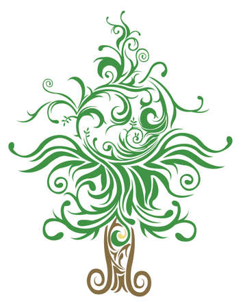 creeper: Unique Christmas tree made with many curves and elements, create by vector