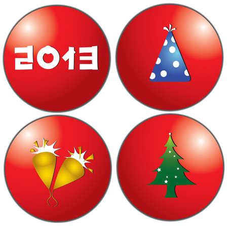 Christmas decoration icons in red circle, create by vector Vector