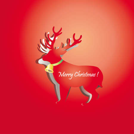 Riendeer peel off from red paper background, create by vector Vector