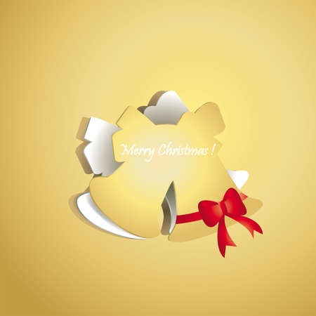 Chrismas bell peel off from gold paper background, create by vector Vector
