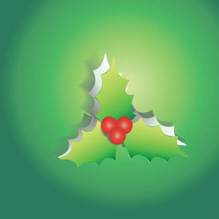 peel off: Mistletoe peel off from green paper background, create by vector