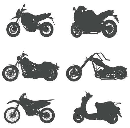 creare: Set silhouette di moto, crea dal vettore.