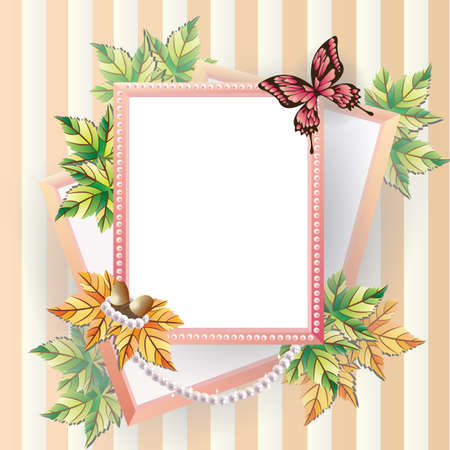 Maple picture frame with pearl beads, can be use as scrapbooking and notepad.  Stock Vector - 16244799