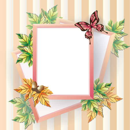 Maple picture frame, can be use as scrapbooking and notepad. Stock Vector - 16244794