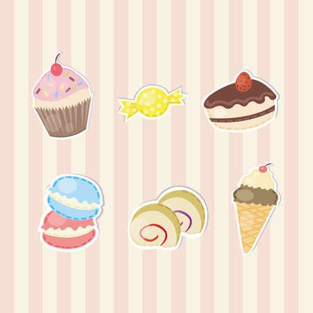 マカロン: ベクターでかわいいステッカーお菓子やキャンディーのコレクションの作成します。  イラスト・ベクター素材