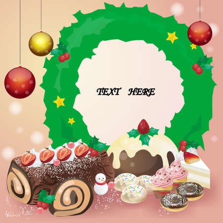 Christmas dessert card or notepad Vector