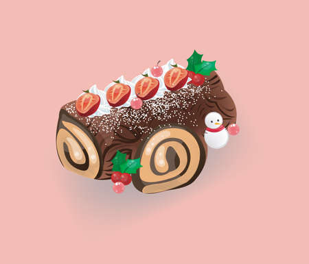 Log cake for Christmas Vector