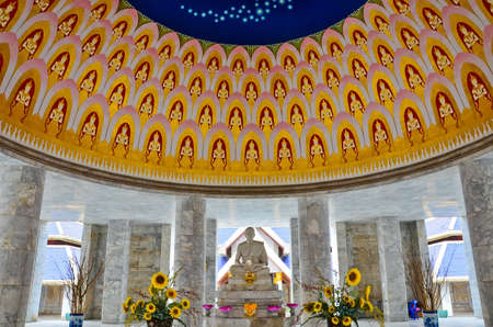 NAKORNPATOM, THAILAND - NOVEMBER 09: Inside the marble Tripitaka shrine on November 9, 2012. This place is promoted to be the center of world Buddhism in Thailand.
