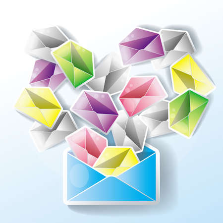 E-mail spreading to an entire network. One mail might cause many little chain mails. Stock Vector - 16552471