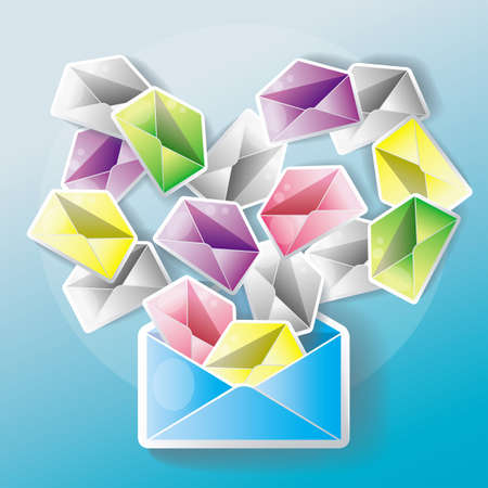 E-mail spreading to an entire network. One mail might cause many little chain mails. Vector