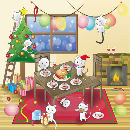 dinner party: Cute little cats are celebrating a Christmas party (vector). Illustration