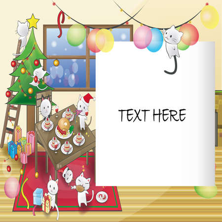 Cat Christmas party card or notepad. Vector
