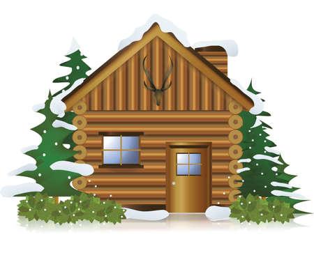 Casa rural en el centro del bosque de nieve, vector de crear
