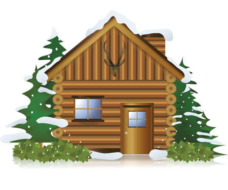 huts: Cottage in the middle of snow forest, create by vector Illustration