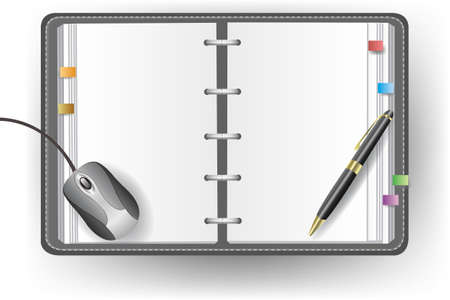 Vector office diary with no line, ballpoint pen, and mouse Stock Vector - 16601310