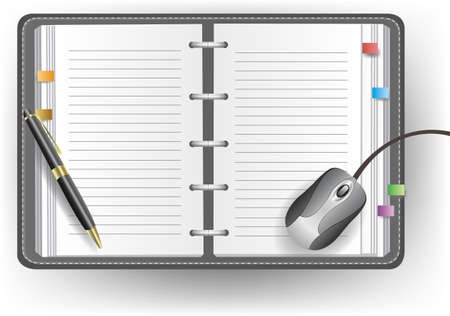 Vector office diary with line, ballpoint pen, and mouse Vector