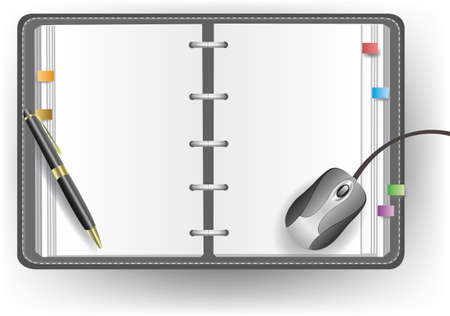 note pc: Vector office diary with no line, ballpoint pen, and mouse