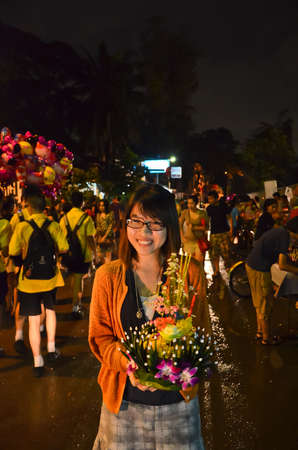 12 November 2012  Loy Kratong festival to worship river goddess in Thailand on a full moon day  People will put a lantern made of leaves in the water with respect and wish for success  Stock Photo - 16628362