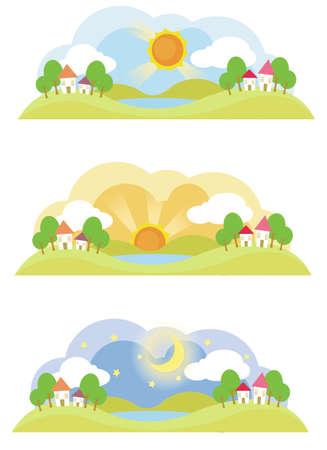 dia y noche: 3 paisaje natural en diversos momentos del día, crear por vector