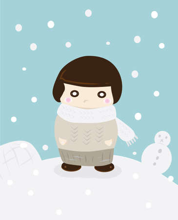 Girl in the middle of snow in winter season Vector
